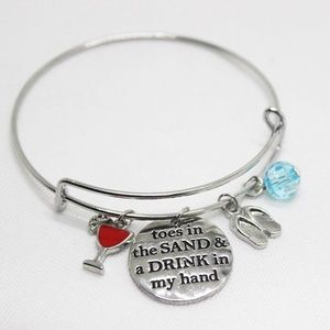 "Jewelry - Bracelet  ""toes in the sand a drink in my hand"